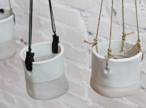 Drill Holes and Add String Hanging Garden - Clay Pot Crafts