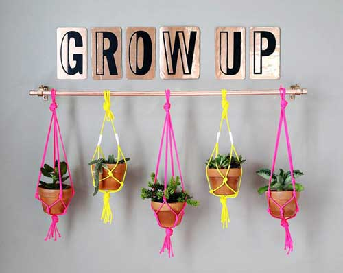 Hanging Garden Hang Pots from a Copper Pipe - Clay Pot Crafts