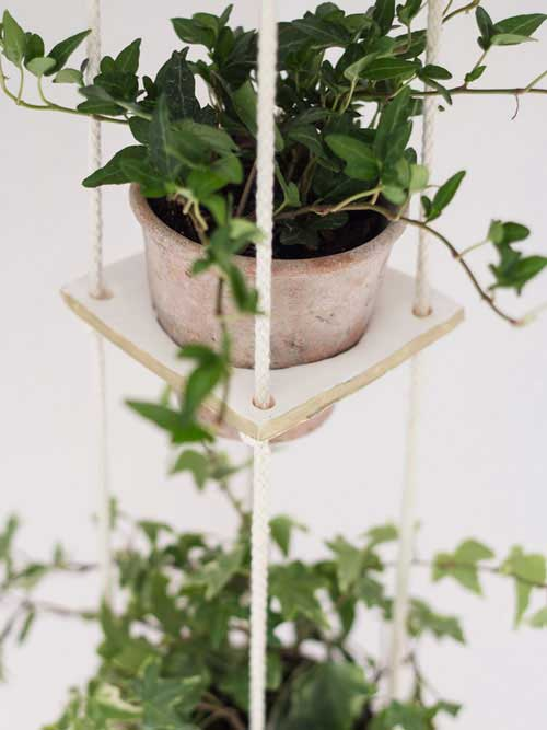 Hanging Garden Using Clay Squares and Rope - Clay Pot Crafts