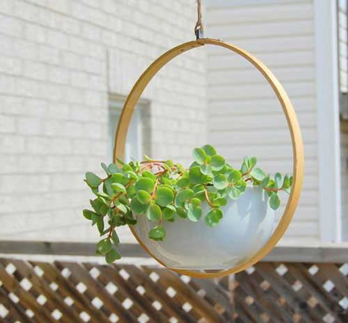 Hanging Garden Using Embroidery Hoop - Clay Pot Crafts