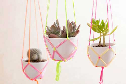 Hanging Garden Using Neon Straws and String - Clay Pot Crafts