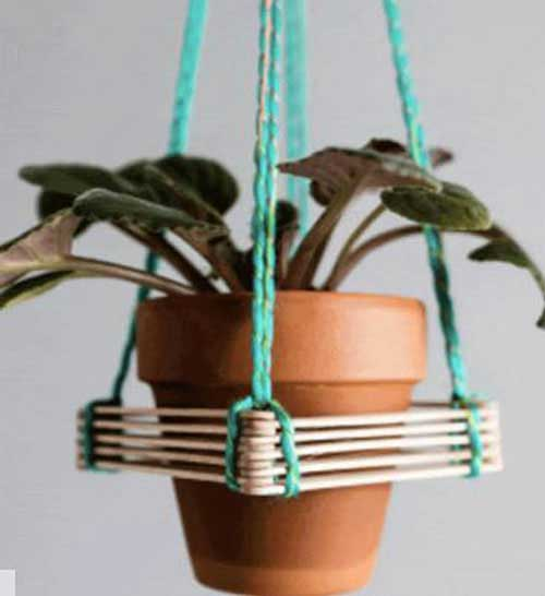 Lolly Sticks and String Hanging Garden -  Clay Pot Crafts