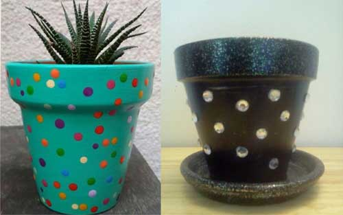Add Gems Polka Dot Flower Pots - Clay Pot Crafts