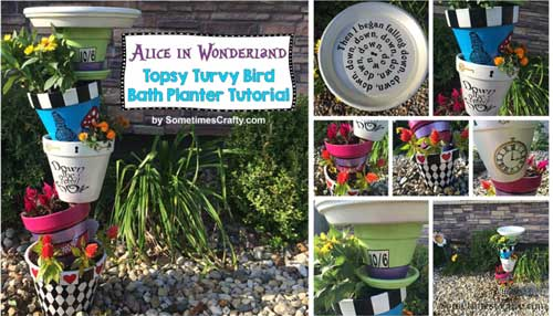 Alice In Wonderland Topsy Turvy Planters - Clay Pot Crafts