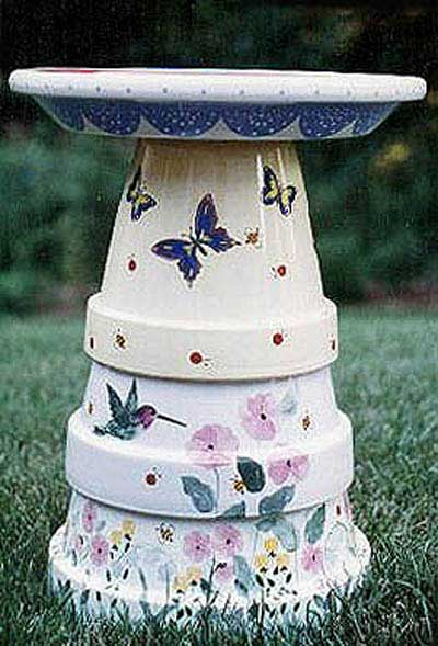 Butterfly Painted Clay Pot Bird Bath - Clay Pot Crafts