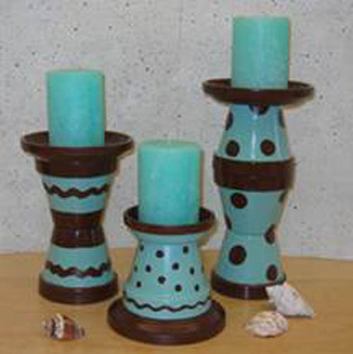 Candle Holders Polka Dot Flower Pots - Clay Pot Crafts
