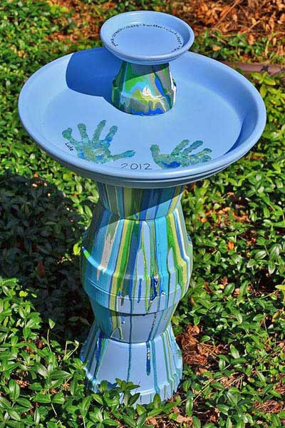 Child Hand Print Clay Pot Bird Bath - Clay Pot Crafts