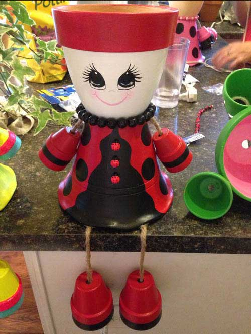Clay Pot Ladybugs Girl - Clay Pot crafts