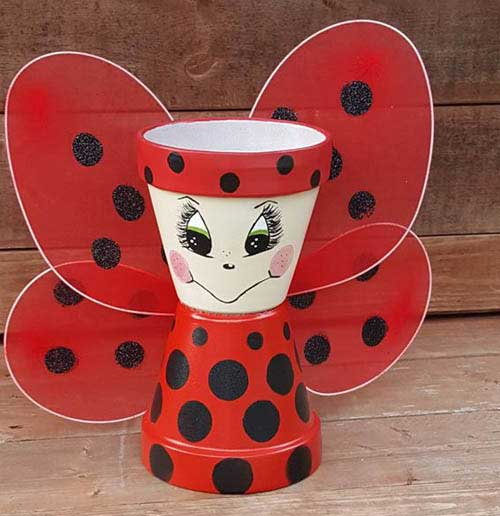 Clay Pot Ladybugs - Ladybug Pot With Wings - Clay Pot Crafts