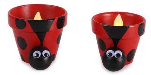 Clay Pot Ladybugs Luminaries - Clay Pot Crafts