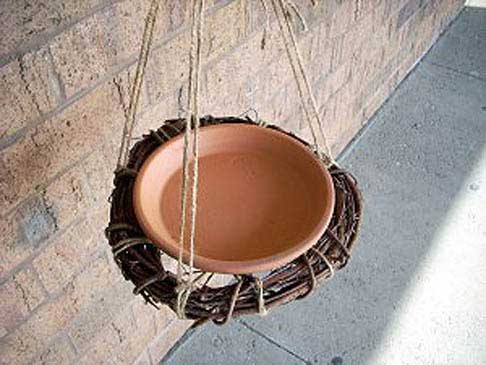 Clay Pot Saucer and Vines - Decorative Bird Feeders - Clay Pot Crafts