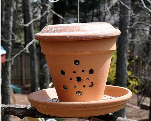 Clay Pot Tube Feeder - Decorative Bird Feeders - Clay Pot Crafts