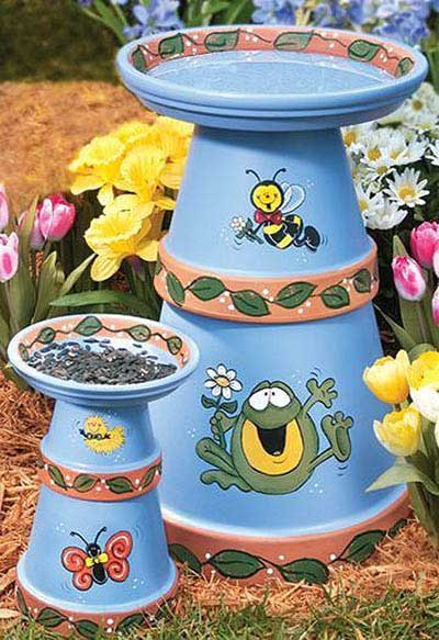 Cute Clay Pot Bird Bath - Clay Pot Crafts