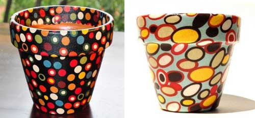 Decoupage Polka Dot Flower Pots - Clay Pot Crafts