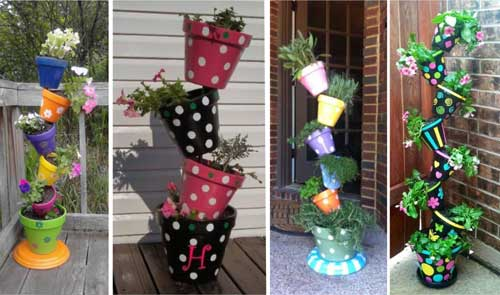 Dots Stipes Simple Motifs - Topsy Turvy Planters - Clay Pot Crafts