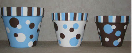 Dots and Stripes Polka Dot Flower Pots - Clay Pot Crafts