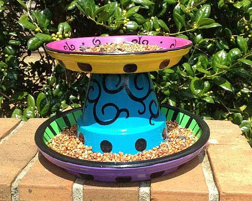 Dual Layer Decorative Bird feeders - Clay Pot Crafts
