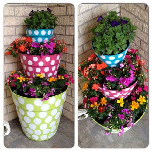 Flower Tower Polka Dot Flower Pots - Clay Pot Crafts