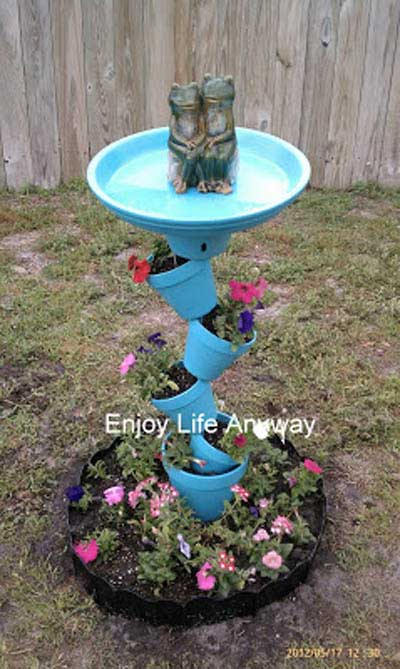 Froggy Tumble Stacking Clay Pot Bird Bath - Clay Pot Crafts