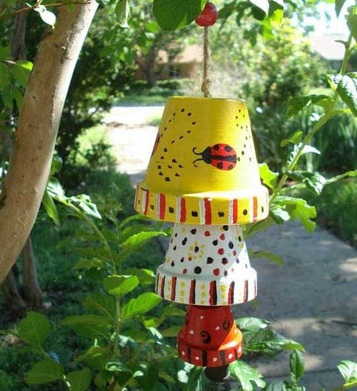 Hand Painted Clay Pot Ladybugs Wind Chimes