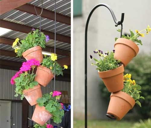 Hanging Topsy Turvy Planters - Clay Pot Crafts