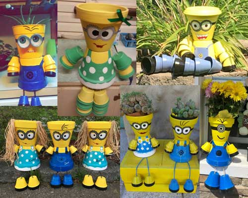Lots of People Planters - Flower Pot Minions - Clay Pot Crafts