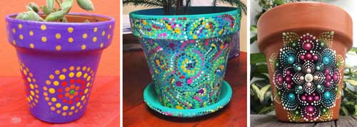 Mandala Art Polka Dot Flower Pots - Clay Pot Crafts #