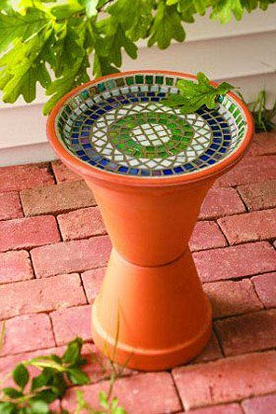 Mosaic Clay Pot Bird Bath - Clay Pot Crafts