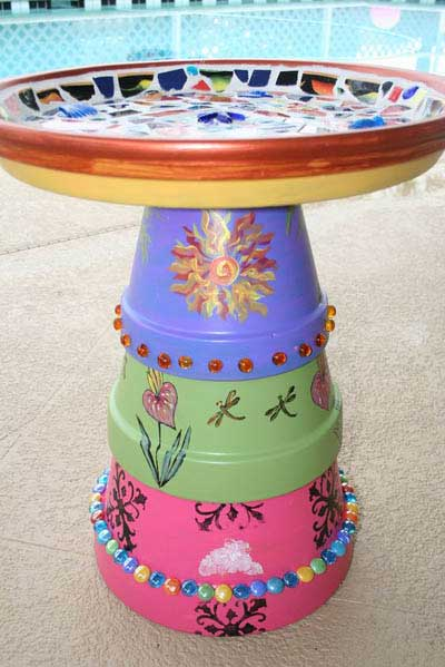Multi Decorated Clay Pot Bird Bath - Clay Pot Crafts