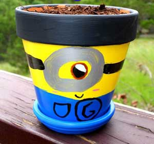 Painted Pots - Flower Pot Minions - Clay Pot Crafts