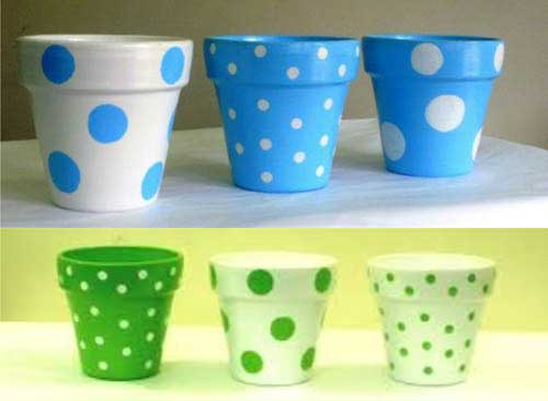 Random Dots Polka Dot Flower Pots - Clay Pot Crafts