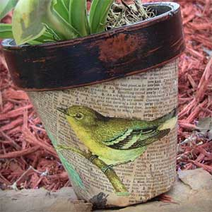 Robin Decoupage  Clay Pots - Clay Pot Crafts