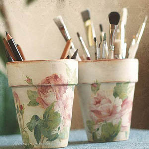 Roses Decoupage  Clay Pots - Clay Pot Crafts
