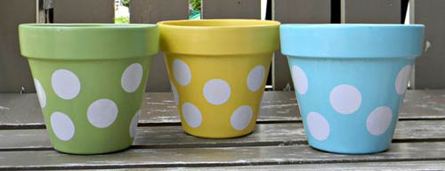 Symmetrical Dots Polka Dot Flower Pots - Clay Pot Crafts