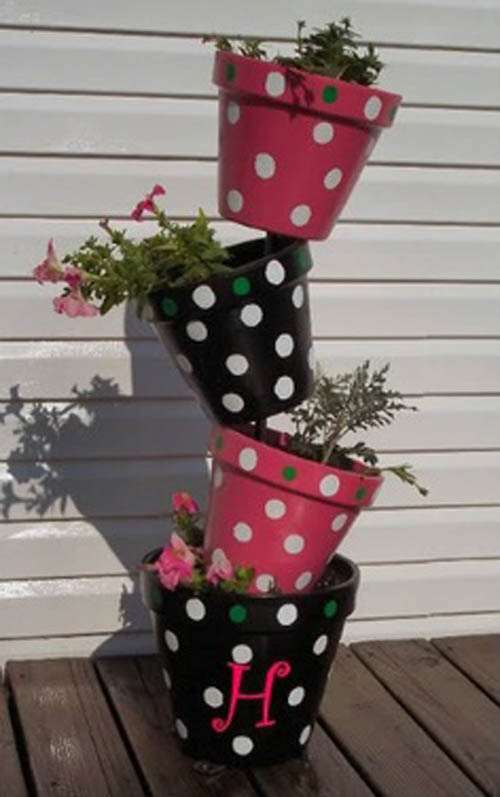Topsy Turvy Flower Tower Polka Dot Flower Pots - Clay Pot Crafts