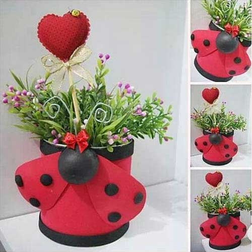 Valentines Clay Pot Ladybugs - Clay Pot Crafts