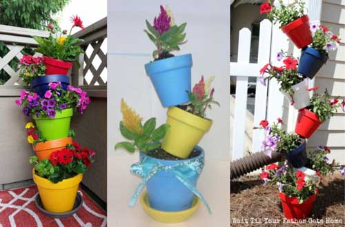 Vibrant Colours Topsy Turvy Planters - Clay Pot Crafts
