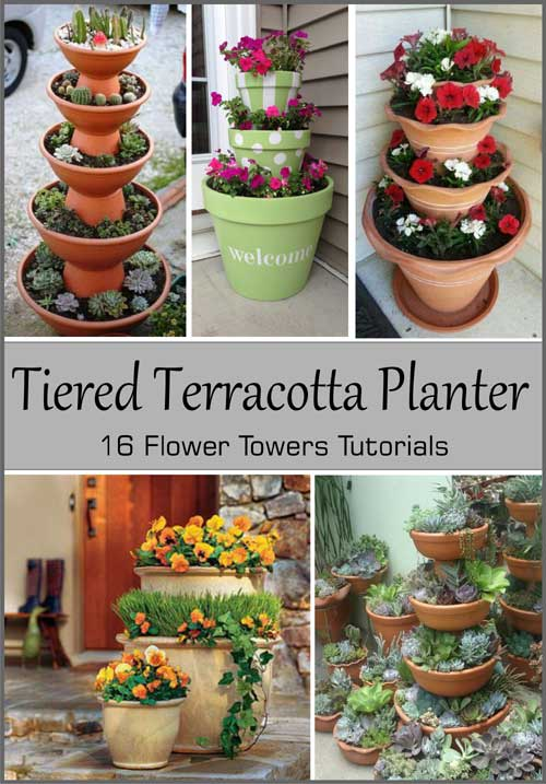 16 Tiered Terracotta Planter Tutorials - Clay Pot Crafts
