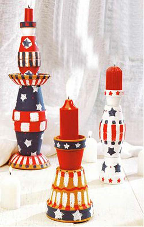 4th of July Clay Pot Candle Holder