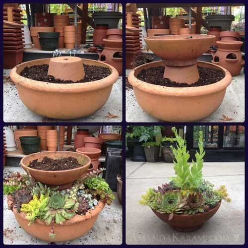 Double Layer Low Level Terracotta Tiered Planter -Clay Pot Crafts