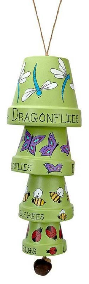 Dragonflies and Butterflies Clay Pot Wind Chimes - Clay Pot Crafts