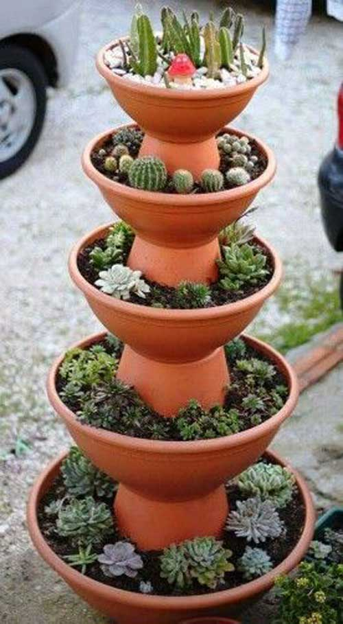 Extra Tall Terracotta Tiered Planter - Clay Pot Crafts