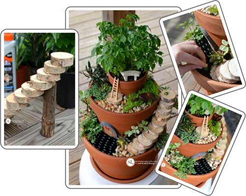 Fairy Garden Terracotta Tiered Planter - Clay Pot Crafts