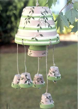 Flowery Clay Pot Wind Chimes - Clay Pot Crafts