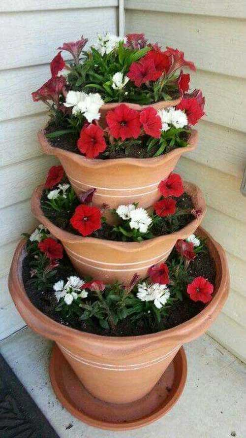 Frilly Edged Terracotta Tiered Planter - Clay Pot Crafts