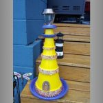 Glass Bead Decorations Clay Pot Lighthouse - Clay Pot Crafts