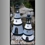Grey Black White Clay Pot Lighthouse - Clay Pot Crafts