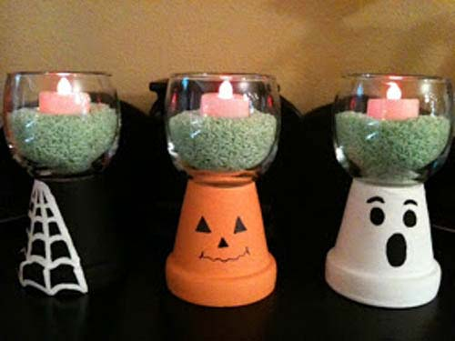 Halloween Clay Pot Candle Holder
