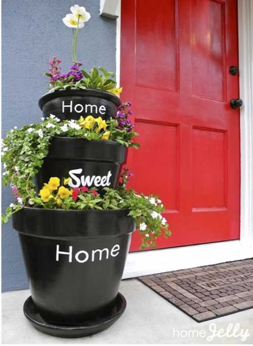 Home Sweet Home Terracotta Tiered Planter - Clay Pot Crafts
