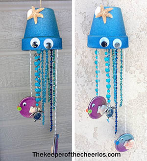 Jellyfish Clay Pot Wind Chimes - Clay Pot Crafts